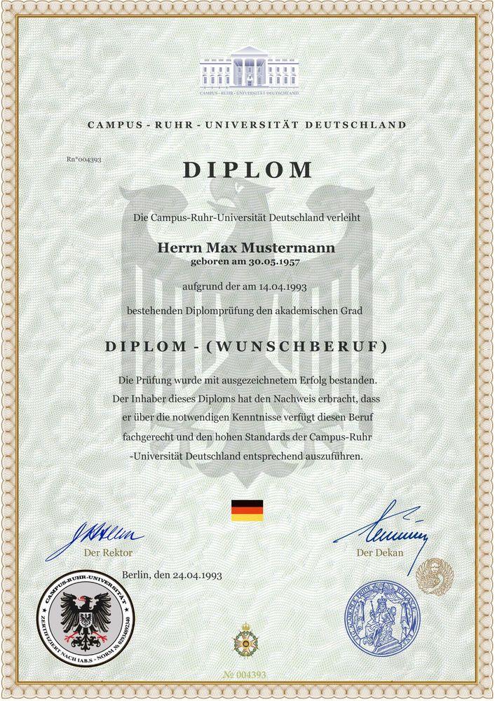 ♛ Diplom Staatlich geprüfter Betriebswirt Urkunde ♛ Ganz nach Ihrem Wunsch ♛