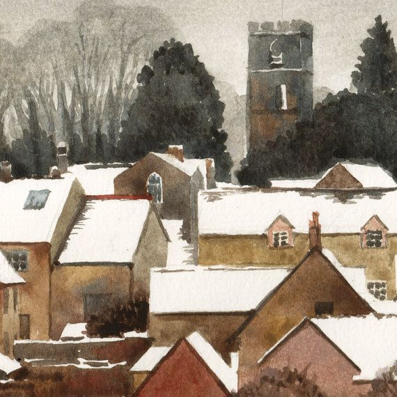 English village in winter watercolor original by for British landscape architects
