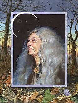Cailleach - the goddess of both death and transformation. It is her whispers which tell you what must be buried and what must be born. Like it or not, you know your very survival depends on her wisdom.
