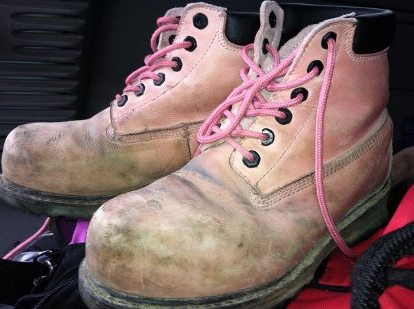 They are work boots but we get asked all the time; How do I clean my pink work boots?  They are nubuck leather so they are durable. You can use water, dish soap + water, light sand paper or a nubuck block. Scrub these babies clean.  Check out our friend Leigh-Anne Allaire who demonstrated in this video how to take care of your Moxie Trades pink work boots on Cityline. Go to our website to watch the video.