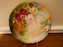 Beautiful Feminine Victorian Limoges Charger Plate (Plaque) with Multicolor Red, Pink, White/Yellow Old Fashion Tea Roses~ entirely Hand Painted by the Late 19th Century Artist 'Ada Smith 1908'