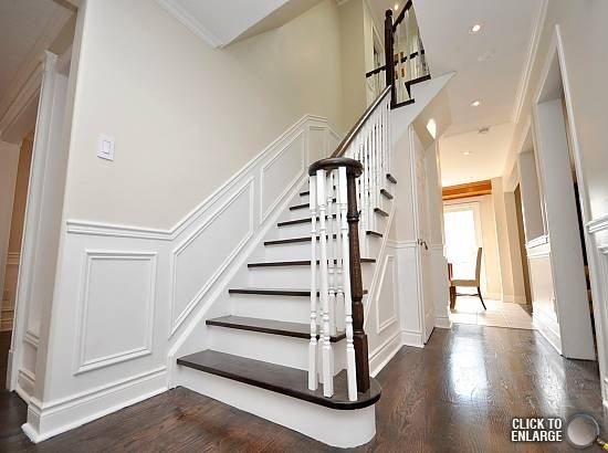 Stairs With Stained Treads And Painted White Risers White