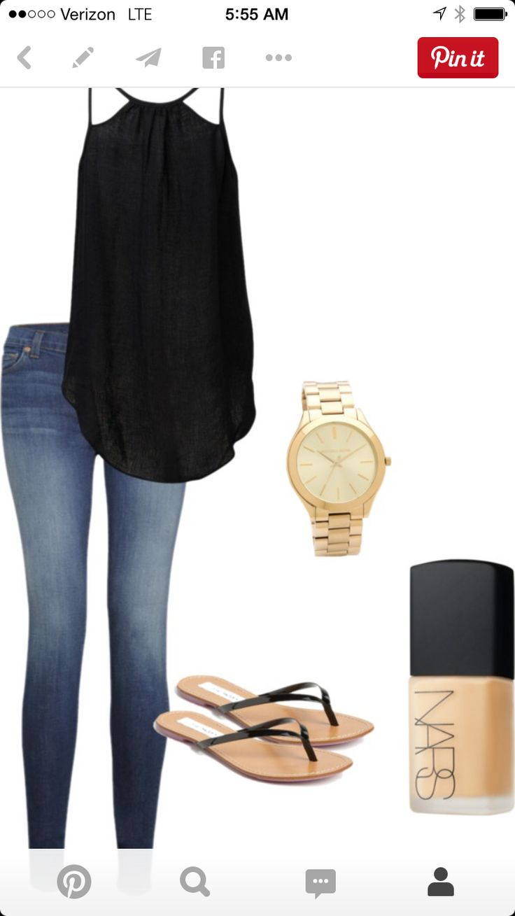 My simple hot-weather outfit: Black silky top, skinny jeans and black flats