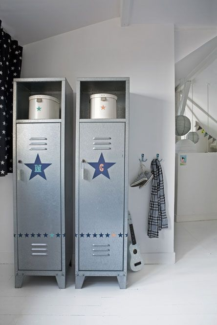 A great way to add storage to a boy's bedroom, especially one with a sports theme.