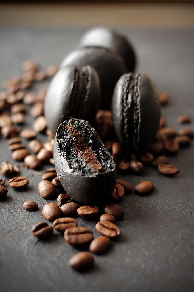 Black Coffee Macarons with chocolate cream centers