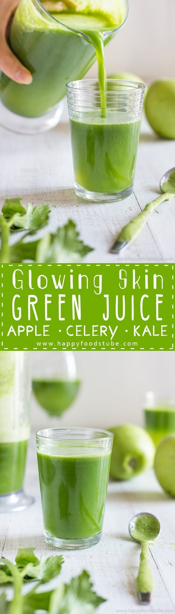 This Green Juice recipe is an easy way to give your skin the glow you are after. No preservatives, only 3 ingredients and 5 minutes to make. Homemade juicing recipe. #greenjuice #vegetable #juice #recipes #juicing #cleanse #howtomake #healthydrinks #weightloss #naturalremedies #detox #glowingskin via @happyfoodstube