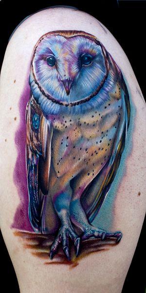 Colored barn owl tattoo