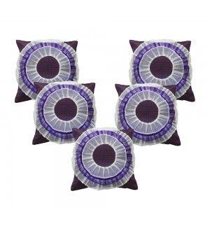White Floral Purple Cushion Cover (Set of 5 Pcs)