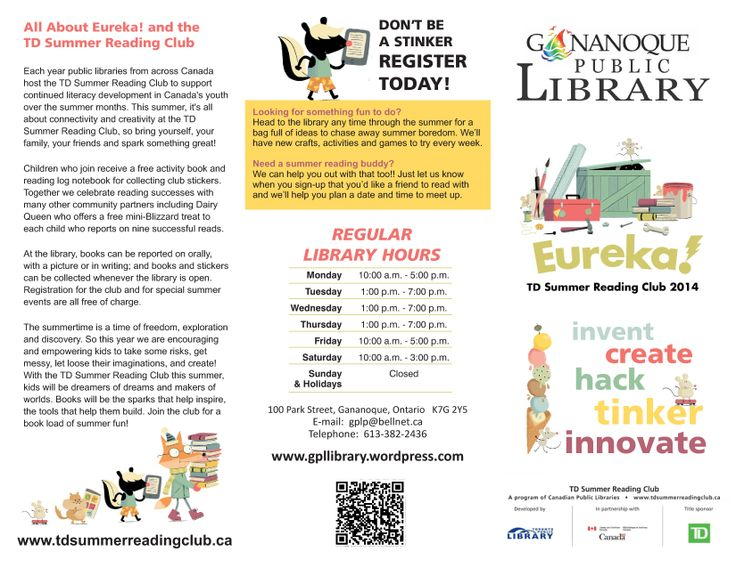 Gananoque Public Library has a great line up of programs for the TD Summer Reading Club.