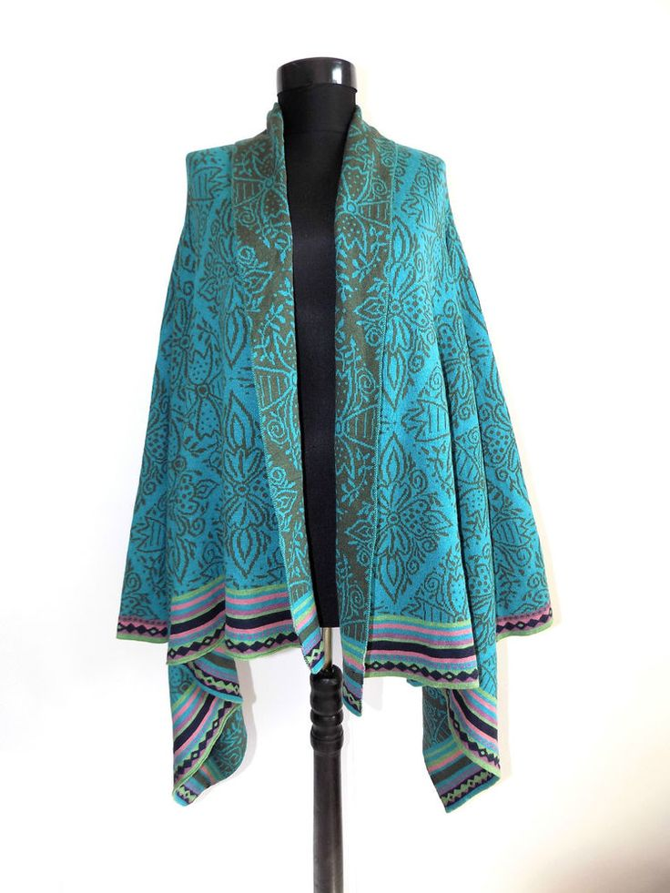Gudrun Sjoden Wool & Silk Floral Multi Coloured Cardigan Size : S / M #GudrunSjoden