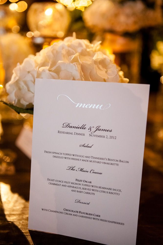 Rehearsal Dinner Venue | Menu Card |  Photo: Erin Lee #rehearsaldinner #cjsoffthesquare
