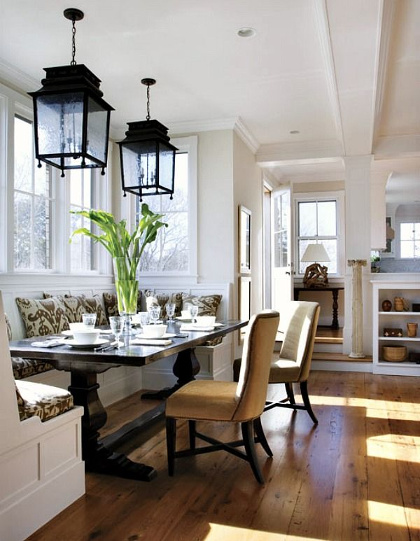 Superb Built Ins Banquette, Trstle Table, Wide Planked Wood Floor, Double Hanging  Lanterns, White And Wood.