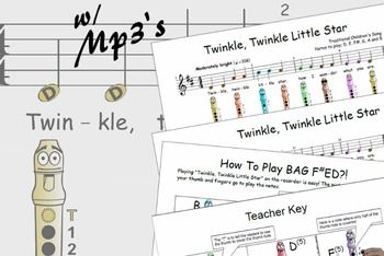 Recorder Fingering - Twinkle Twinkle Little Star song and lyricsThese beginner recorder songs are transcribed as they are most often taught in schools.  The song arrangements mirror a well known recorder program used in schools. The notes used are D, E, F#, G, A and B.