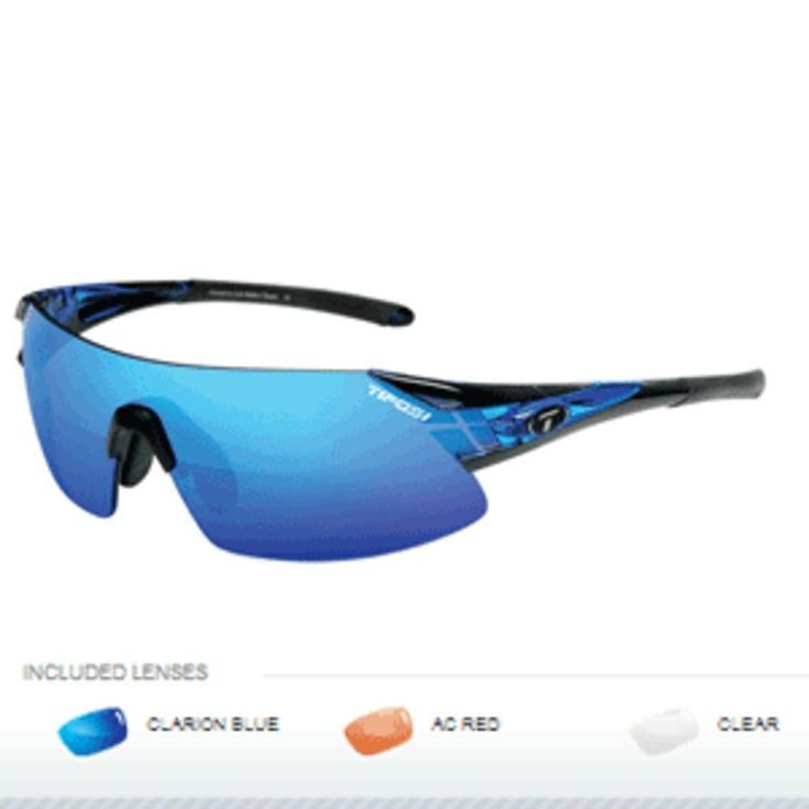 Tifosi Podium XC Interchangeable Sunglasses - Clarion Mirror Collection - Crystal Blue