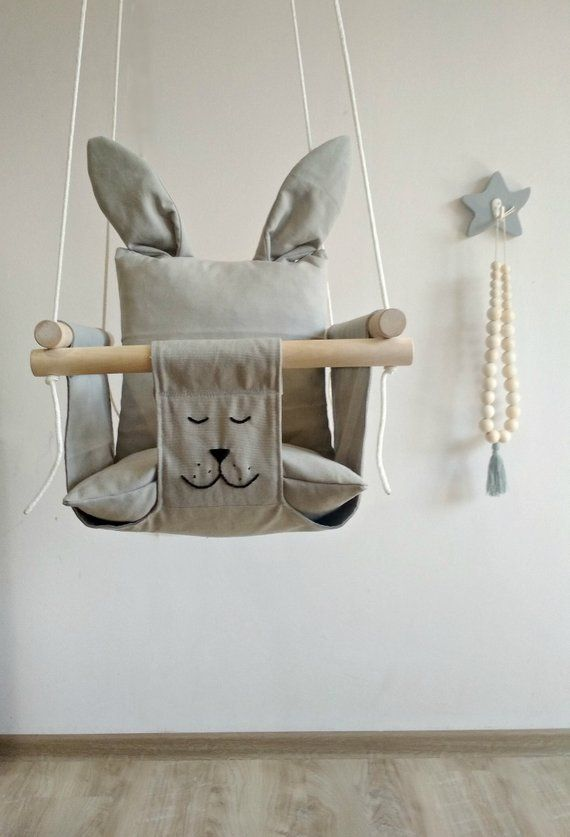 Baby Swing, Bunny Baby Swing, Kids Swing, Childrens Swing, Baby Hammock, Kids Hammock, Gray Baby Swing, Indoor Swing, Swinging chair, Swing