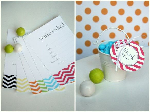 Chevron printable invitations and tags - Free