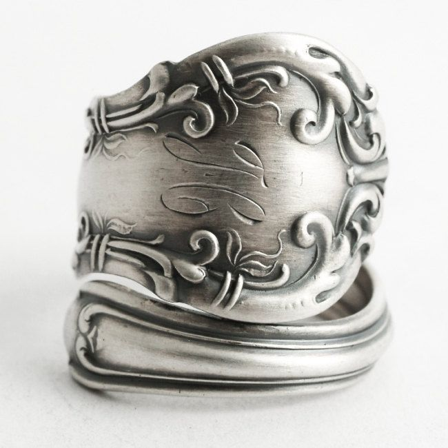 """Victorian Spoon Ring, Sterling Silver Spoon Ring, Antique Wallace """"Irving"""" 1899, Handmade Gift Promise Ring, Mono H, Custom Ring Size (6599) by Spoonier on Etsy"""