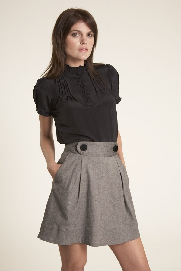 carla pin tuck high neck blouse / corey lynn carla