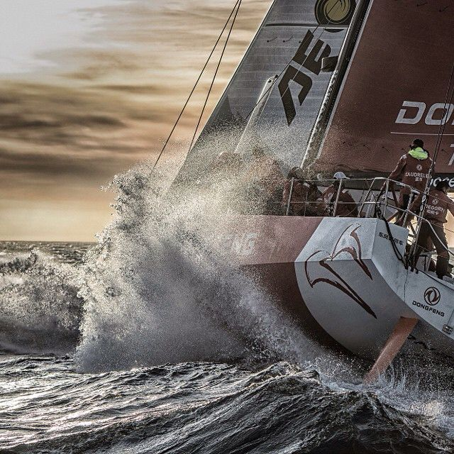 Extreme sailing, sunset... What else? Photo by Marc Bow/Volvo Ocean Race #volvooceanrace