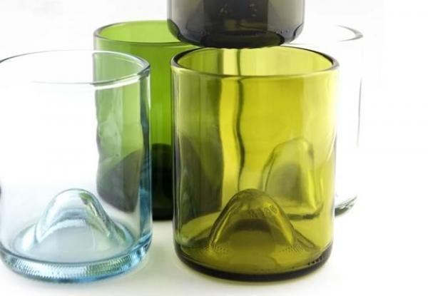 vasos con botellas de vino - o cómo cortar botellas de cristal