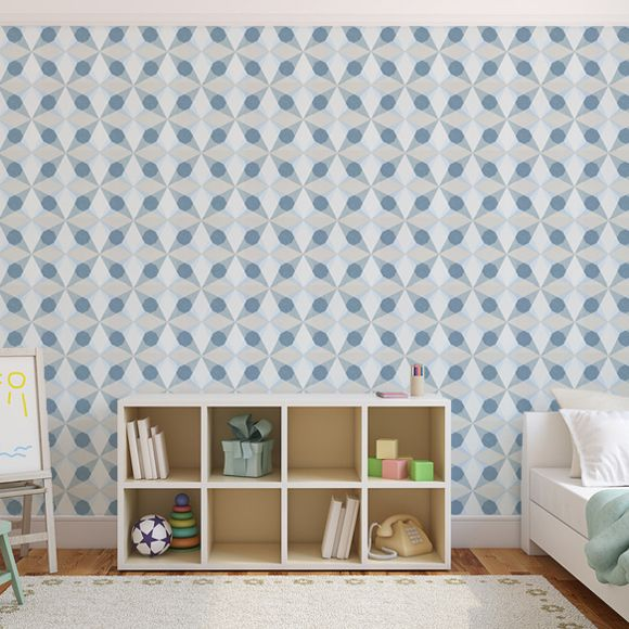 Papier Peint G Om Trique Bleu Cube Star Jocelyn Warner Au Fil Des Couleurs Papier Peint
