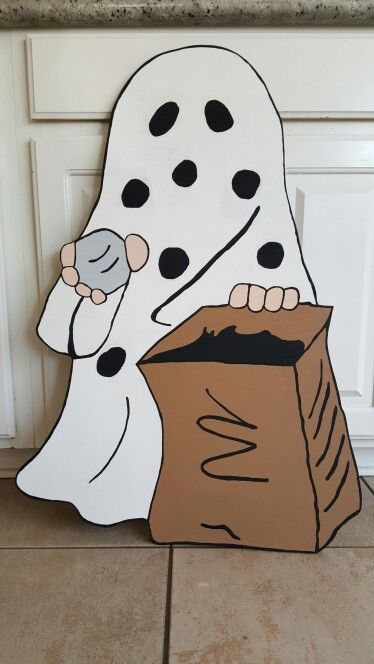 """It's the Great Pumpkin Charlie Brown- Charlie Brown Ghost costume. """"I got a rock."""""""