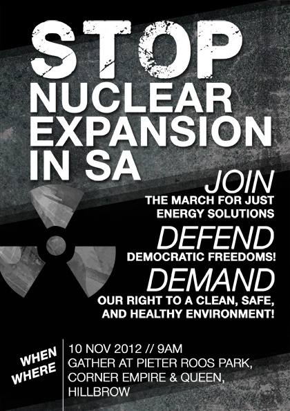 Join Greenpeace Africa and Earthlife Africa to march for a nuclear-free South Africa: 10 November 2012 at 9am