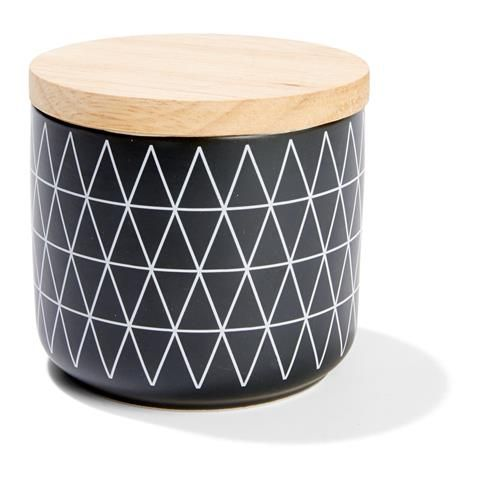 Patterned Canister - Small, Black
