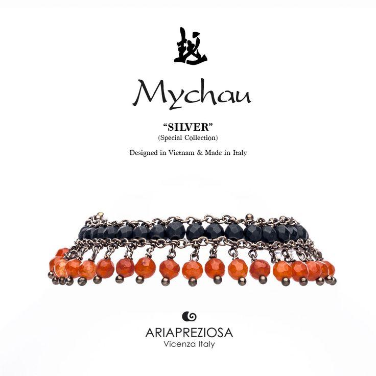 Mychau Silver - Bracciale realizzato in Argento 925‰ (galvanica chocolate) e pietre naturali Onice Opaca ed Agata Fuoco
