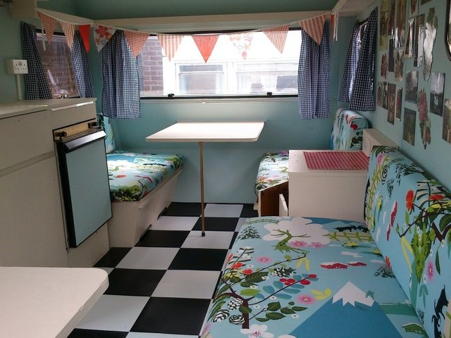 Check out the retro-inspired interior of this fab #vintage caravan currently for sale on #Preloved! We say - Cool camping!