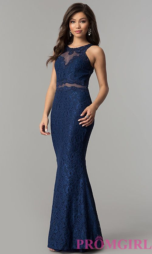 c70b8ee874c Mock-Two-Piece Navy Blue Lace Prom Dress in 2019