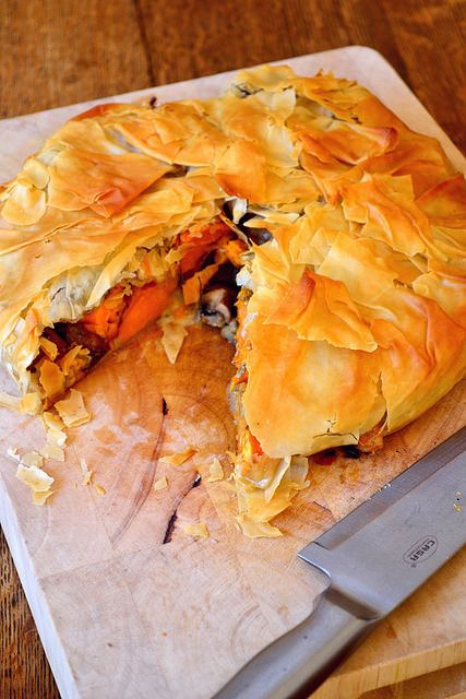 The perfect combination of sweet potato, mushrooms, red onion and cheese come together to form this mouthwatering pie.