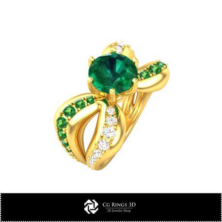 Dual Band Jewel Ring