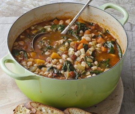 Winter minestrone and garlic bruschetta