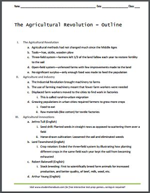 agricultural revolution outline for world history free to print pdf social studies. Black Bedroom Furniture Sets. Home Design Ideas