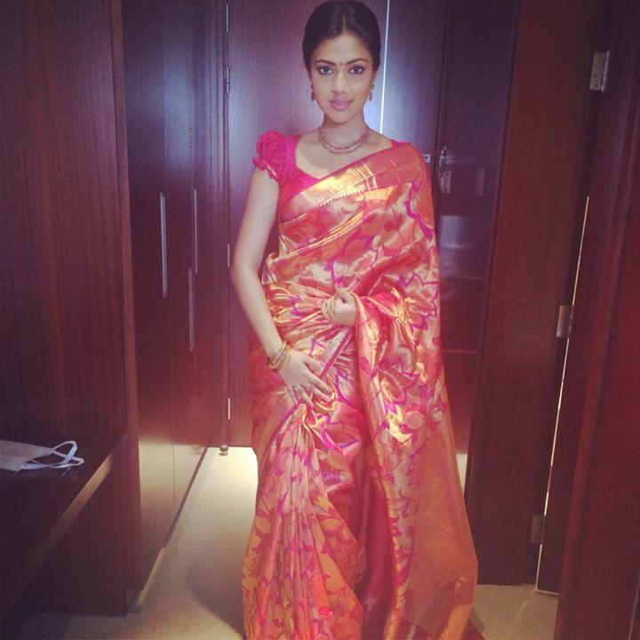 South Actress Amala Paul in Pink Kanjeevaram Saree
