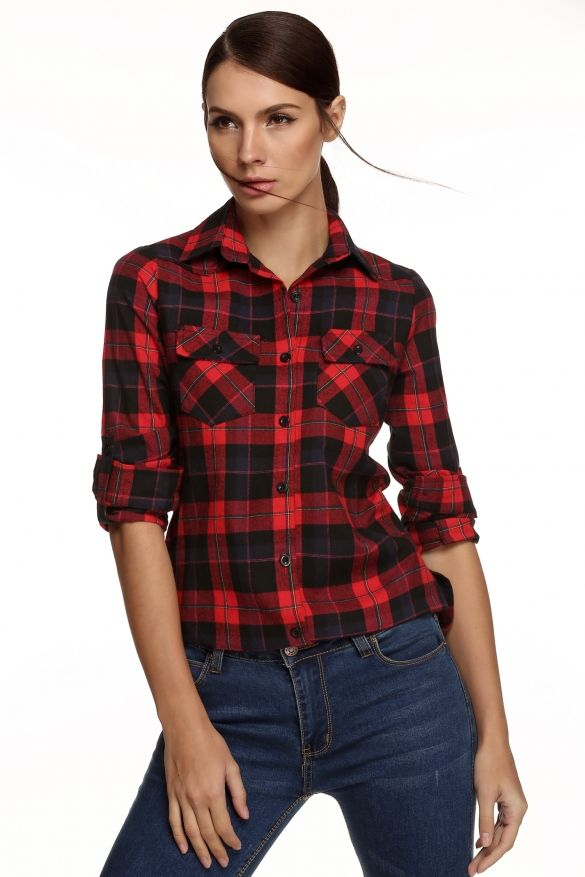 Meaneor Stylish Ladies Women Casual Long Sleeve Lapel Plaid Check Print Button Shirt Blouse Top_Shirts & Blouses_TOPS_CLOTHING_The Latest Trends & Fashion Clothing For Women Online Store-www.dressin.com
