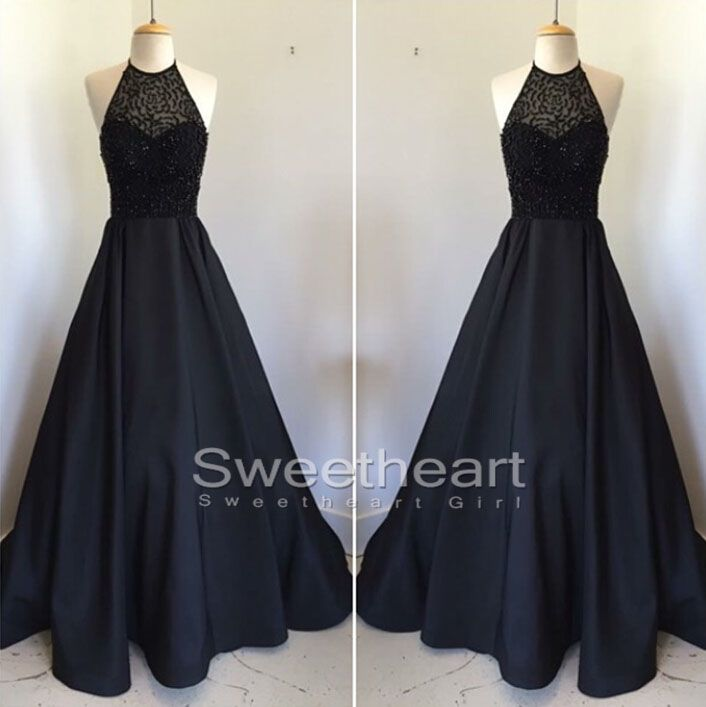 Unique Black round neck beaded long prom dress for teens, evening dress