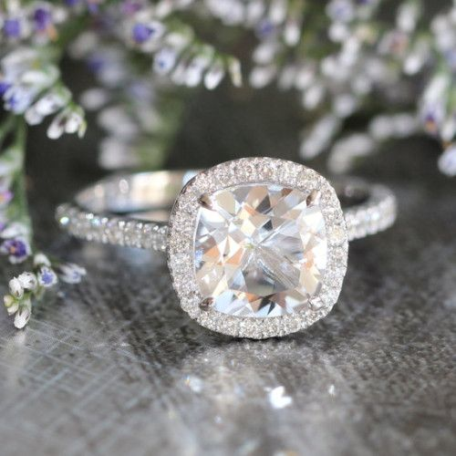 LaMoreDesign Halo White Topaz Engagement Ring with Pave Diamonds