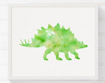 Rot T-Rex Aquarell Dinosaurier Kinderzimmer Wand von MiaoMiaoDesign