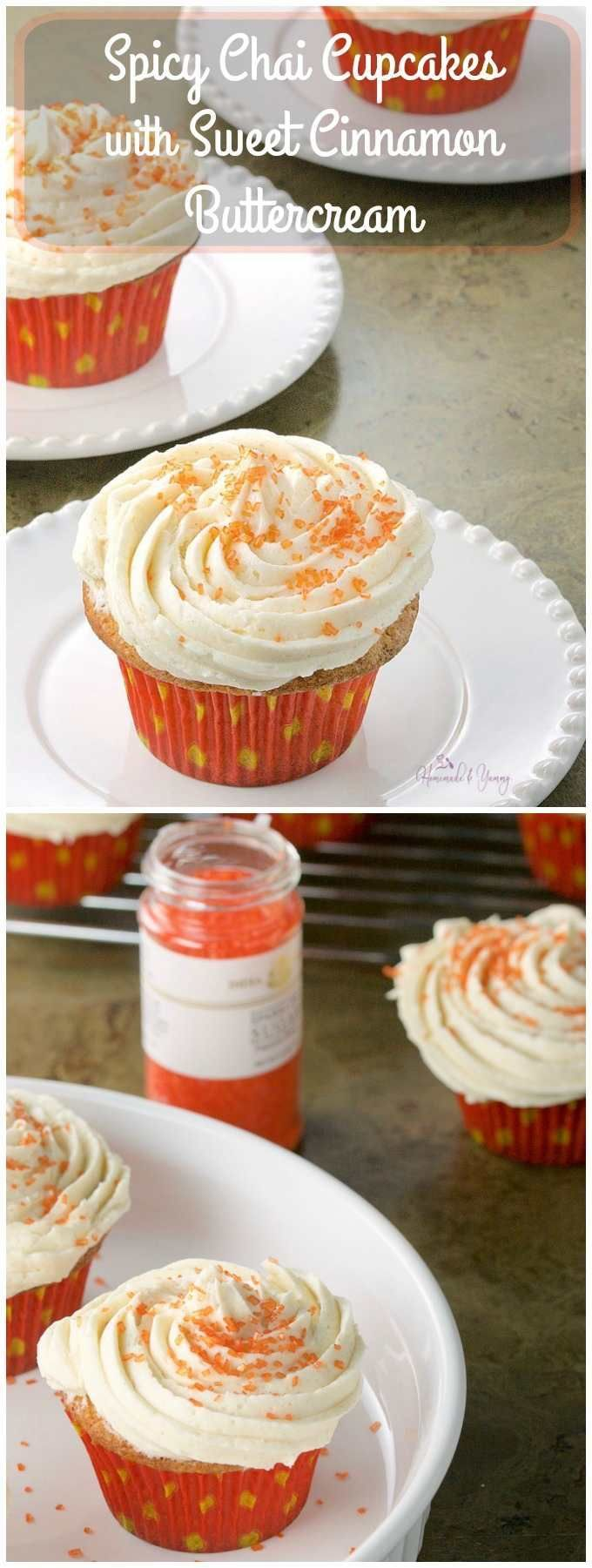 Spicy Chai Cupcakes with Sweet Cinnamon Buttercream will delight your taste buds. Spicy, sweet and oh so addictive. Perfect for dessert.   http://homemadeandyummy.com