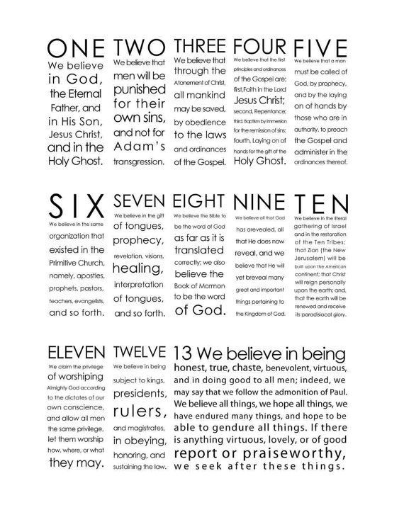 It's just a photo of Refreshing 13th Article of Faith Printable