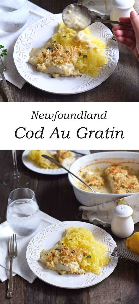 Newfie Cod Au Gratin - cod fillets baked in a homemade bechamel sauce topped with croutons and parmesan cheese.