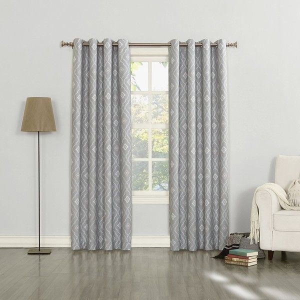 Sun Zero Sylvie Thermal Lined Curtain (£29) ❤ liked on Polyvore featuring home, home decor, window treatments, curtains, grey, grommet draperies, thermal window treatments, polyester curtains, thermal window coverings and grommet window treatments