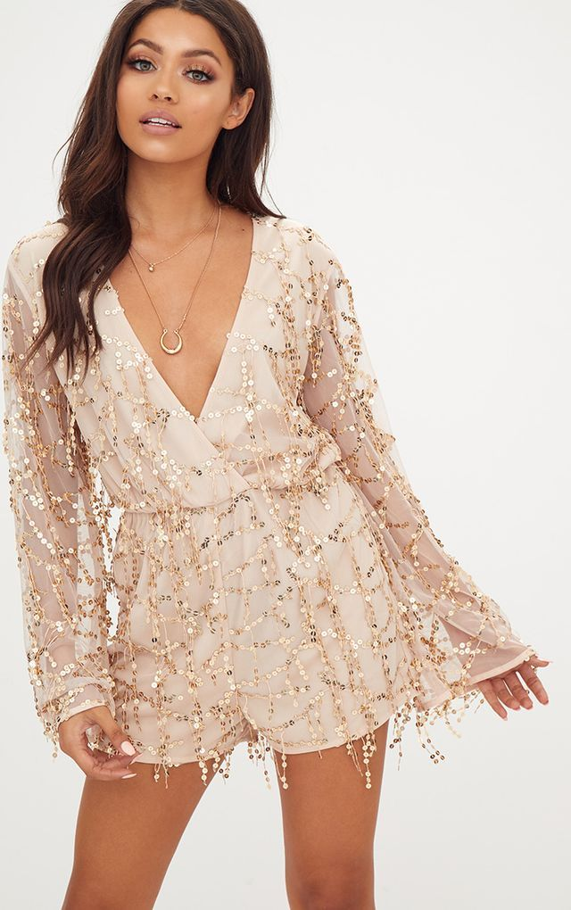e216c7d0 Gold Sequin Wrap Romper | Styles I like in 2019 | Sequin playsuit ...