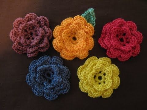 ▶ How to make a crocheted flower, part 3 - YouTube