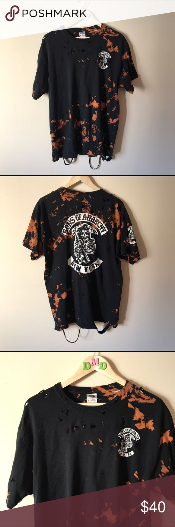 ✂️ CUSTOM • Distressed bleached SOA t-shirt Completely custom SONS OF ANARCHY tshirt. is distressed, bleached, worn out, ripped up, back graphic does have rhinestones for a little bling effect (hard to tell in pictures, subtle!) shirt is made of a softer https://www.fanprint.com/stores/fight-club?ref=5750