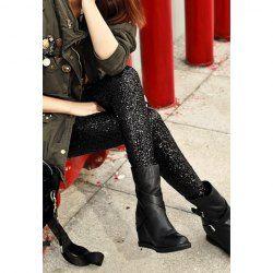 Shimmering Sequin Thicken Skinny Leggings For Women
