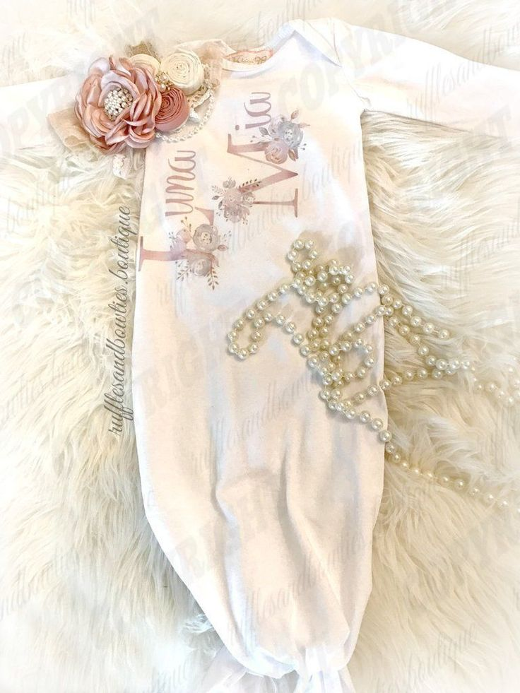 ***EXCLUSIVE*** Baby Girl Vintage Floral Name White Knotted Sleep Sack