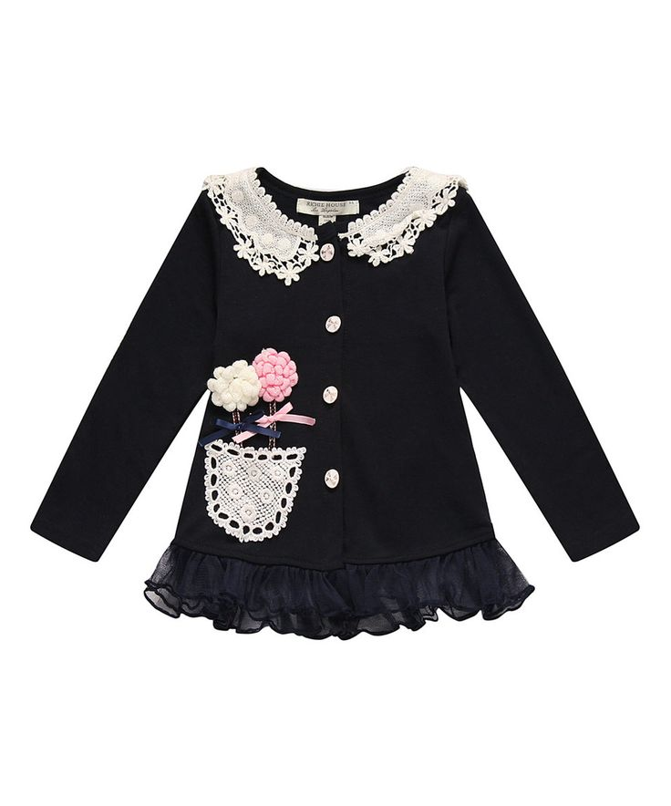 Another great find on #zulily! Navy Lace Flower Cardigan - Girls by Richie House #zulilyfinds